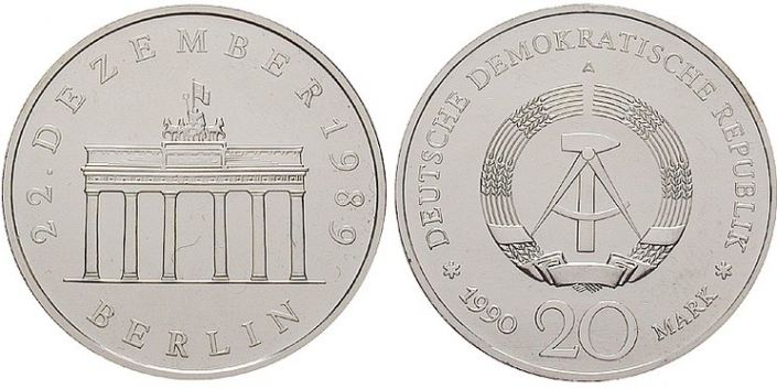 20 Mark Münze Brandenburger Tor 1990