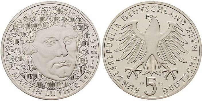 5 DM Münze Luther