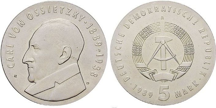 5 Mark Münze Ossietzky