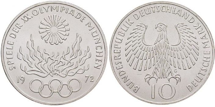 10 Dm Münze Olympiade 1972 Olympisches Feuer
