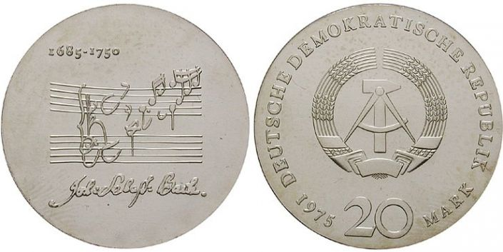 20 Mark Münze Bach DDR 1975