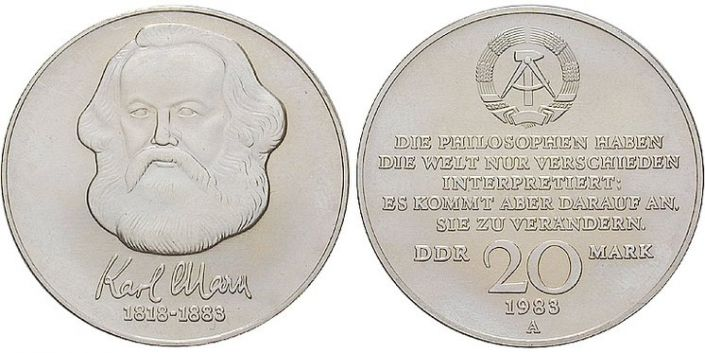 20 Mark Münze 100 Todestag Karl Marx Ddr
