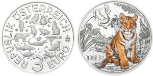 3 Euro Tiger-Münze