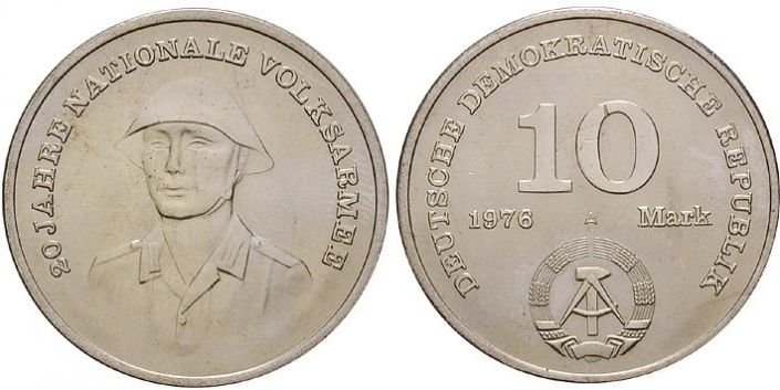 10 Mark Münze Nationale Volksarmee 1976
