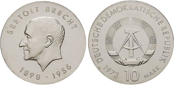 10 Mark Münze Bertold Brecht